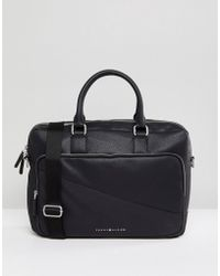 Tommy Hilfiger - Diagonal Faux Leather Laptop Bag In Black - Lyst