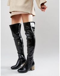 Daisy Street - Detailed Heeled Black Over The Knee Sock Boots - Lyst