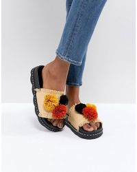 Sixtyseven - Belle Natural Raffia Pom Slide Sandals - Lyst
