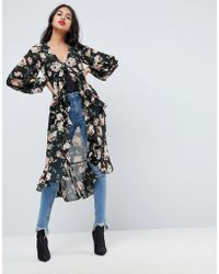 ASOS - Ultimate Maxi Ruffle Tea Blouse In Floral - Lyst