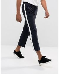 ASOS - Straight Crop Smart Trousers In Navy With White Side Stripe - Lyst