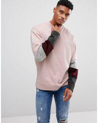 ASOS - Oversized Sweatshirt With Velour Colour Blocking Sleeve Panels - Lyst