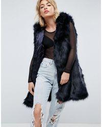 Parka London - Phoeve Hooded Faux Fur Gilet - Lyst