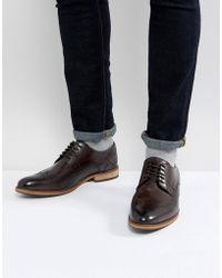 ASOS - Brogue Shoes In Brown Leather With Natural Sole - Lyst