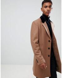 French Connection - Premium Wool Rich Overcoat With Velvet Collar - Lyst
