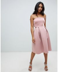 ASOS - Bandeau Crop Top Midi Prom Dress - Lyst
