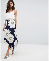 Warehouse | Oversized Floral Midi Skirt | Lyst