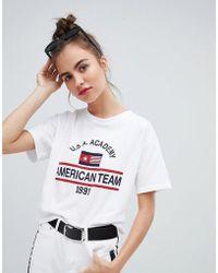 Pull&Bear - Usa Academy Motif T Shirt - Lyst