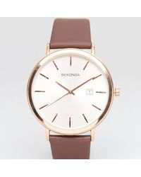 Sekonda - Leather Watch In Brown Exclusive To Asos 42mm - Lyst