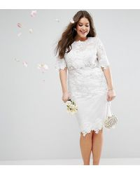 403bc2f2c6c6 Tfnc London Wedding Pleated Midi Dress With Lace Inserts in Pink - Lyst