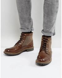 Dune - Military Boot With Tweed Detail - Lyst