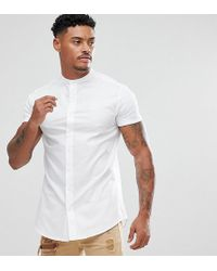 SIKSILK - Muscle Shirt In White With Jersey Sleeves - Lyst