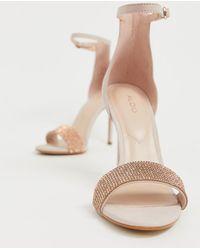 d0290de4768b ALDO Embellished Blush Block Heeled Sandals in Pink - Lyst