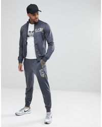 EA7   Zip Through Large Logo Tricot Sweat Tracksuit In Grey   Lyst