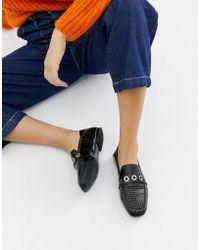 Stradivarius - Black Studded Slip On Loafers - Lyst