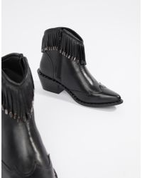 d59c231f1bcee3 Religion Rhea Black Leather Zipped Back Heeled Ankle Boots in Black ...