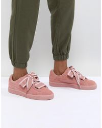 dee2cba1386 PUMA - Basket Heart Satin Women s Shoes (trainers) In Pink - Lyst