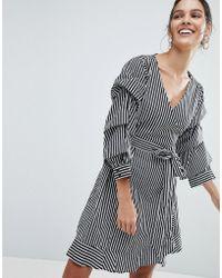 Vila - Stripe Wrap Dress - Lyst