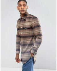 ASOS - Design Regular Fit Super Longline Western Check Shirt With Dip Dye - Lyst
