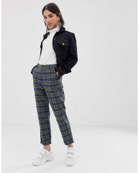 ASOS - Slim Trouser In Khaki And Navy Check - Lyst