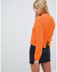 Miss Selfridge - Chenille Jumper With Lattice Back Detail In Orange - Lyst