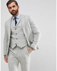ASOS - Asos Slim Suit Jacket In 100% Wool Harris Tweed In Light Gray - Lyst