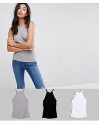ASOS - Cami With Square Neck In Fitted Rib 3 Pack Save 15% - Lyst
