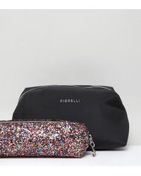 Fiorelli - Adaline Black Makeup Bag With Multi Glitter Brush Bag - Lyst