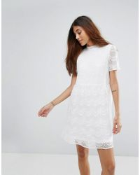 ONLY | Kik High Neck Lace Skater Dress | Lyst