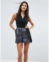 Closet - Wardrobe V-neck Side Tie Contrast Metallic Romper - Lyst