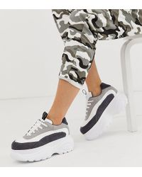 467e0445d NA-KD - Chunky Trainers With Colour Block Detail In White - Lyst
