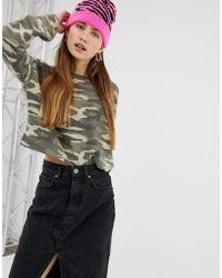 Bershka - Cropped Sweatshirt In Camo Print - Lyst