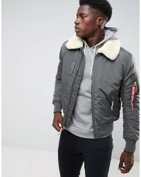 Alpha Industries - Bomber Jacket Shearling Collar In Grey Black - Lyst