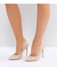 ALDO - Wide Fit Beige Pointed Court Shoes - Lyst