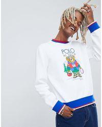 56bbf5f5 Polo Ralph Lauren - Hi Tech Capsule Bear Print Sweatshirt Tipped Trim In  White - Lyst