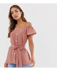 0b507e35cdd5d River Island - Button Through Blouse With Capped Sleeves In Rose Pink - Lyst