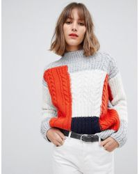 Esprit - Color Block Textured High Neck Sweater In Gray - Lyst