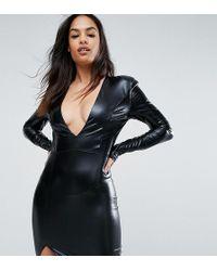 Lyst - Club L Plus Size Slinky Skater Dress With Gold Belt in Black 674e1dba0