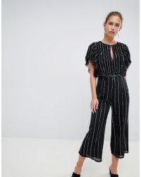 Miss Selfridge - Jumpsuit In Glitter Stripe And Angel Sleeve - Lyst