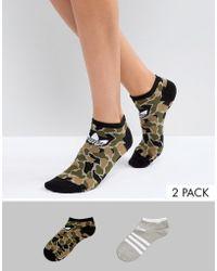 Adidas Originals   Originals Camo/gray Printed 2 Pack Socks   Lyst