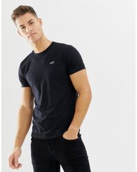 Hollister Crew Neck Core Icon Logo T-shirt Slim Fit In Black