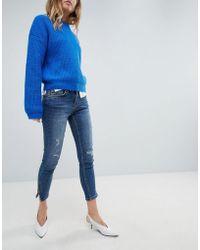 Oasis - Split Hem Distressed Detail Skinny Jeans - Lyst