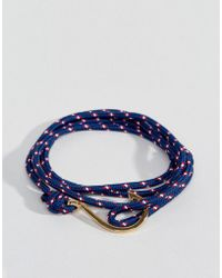 Seven London - Hook Wrap Bracelet In Blue & Gold - Lyst