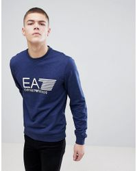 EA7 - Crew Neck Large Logo Sweat In Blue - Lyst