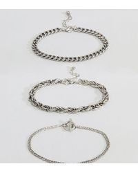 Reclaimed (vintage) - Inspired Chain Bracelets In 3 Pack Exclusive To Asos - Lyst