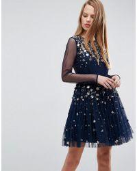 ASOS - Floral Sparkle Embellished Tulle Mini Dress - Lyst