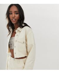 Missguided - Co-ord Denim Cropped Jacket In Ecru - Lyst