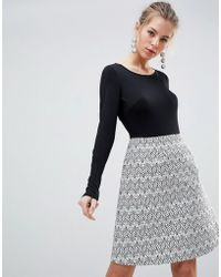 Traffic People - Long Sleeve 2-in-1 Skater Dress With Printed Skirt - Lyst