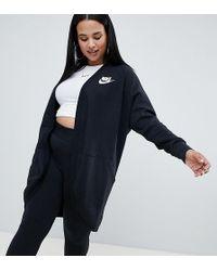 Nike - Plus Rally Black Longline Cardigan - Lyst