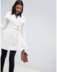 ASOS - Manteau avec col effet cascade et ceinture nouer - Lyst